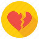 broken heart, brokenheartedness, feeling hurt, heartbreak, lovelessness icon