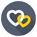 couple, double heart, engaged, intertwined hearts, just married icon