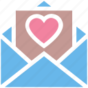 envelope, heart, invitation, invite, message, open, wedding icon