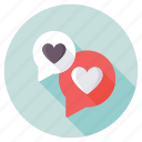 heart speech bubble, love chat, love message, romantic chatting, romantic conversation icon