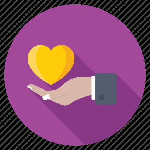 heart on hand, heartcare, inspire, love, valentine icon