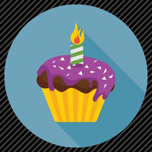 birthday cupcake, candle cupcake, cupcake, dessert, muffin icon