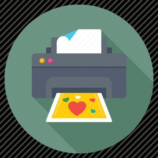 gift card printer, greeting card printer, loving printer, photo printer, valentines card printer icon