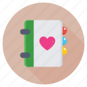love inspirations, love notebook, loving memo, memories, romantic feelings icon