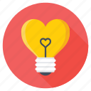 fall in love, heart bulb, heart in bulb, heart shaped bulb, romantic lights icon
