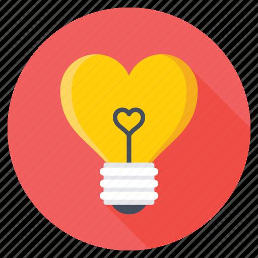 fall in love, heart bulb, heart in bulb, heart shaped bulb, romantic lights icon