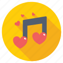 favorite song, love songs, loving music note, romantic music, romantic song icon