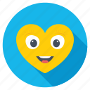 happy face, heart shape eyes, heart shaped smiley, in love smiley, love theme icon
