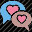chatting, communication, conversation, heart, love, message, valentine icon