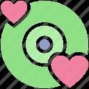 cd, disk, dvd, heart, love, romantic music, romantic songs icon