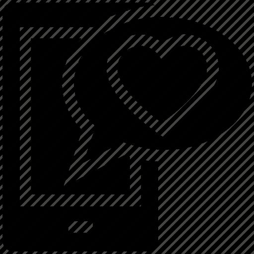 chat, heart, love, message, mobile, talk, valentine icon