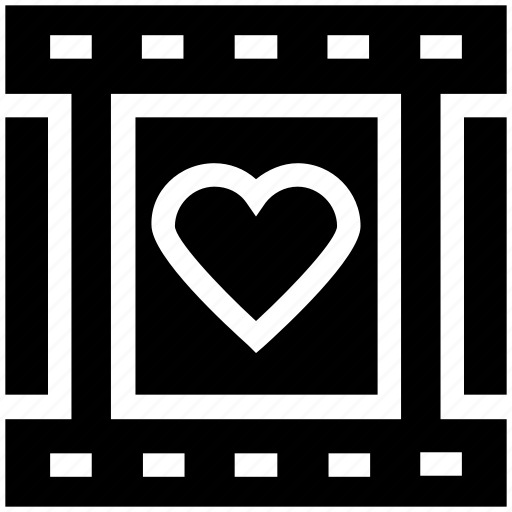 film, film strip, heart, love, movie, romantic movie, romantic video icon
