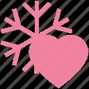 celebration, cold, heart, love, snow, snowflakes, winter icon