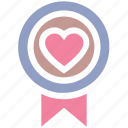 achievement, award badge, badge with heart, heart, heart award, love award, medal icon