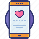 app, application, heart, love, smartphone, valentine icon