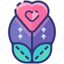 growth, heart, love, plant, romantic, sprout, valentine icon