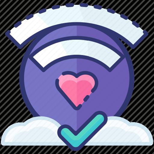 connection, heart, love, romantic, signal, valentine icon