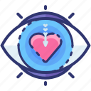 eye, heart, love, romantic, sight, valentine, visible icon