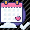 anniversary, calendar, date, heart, love, romantic, valentine icon