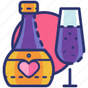 champagne, date, drink, heart, love, romantic, valentine icon