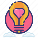 heart, idea, lightbulb, love, romantic, thought, valentine icon