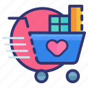 cart, heart, love, shop, shopping, valentine