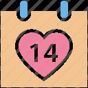 14 february, calendar, date, day, heart, love, romance, valentine day icon