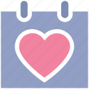 calendar, date, day, heart, love, romance, valentine day icon