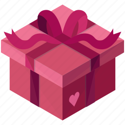 box, gift, heart, love, package, present, valentine icon