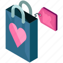 bag, gift, love, shopping, tag, valentine icon