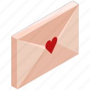 email, envelope, heart, love, mail, message, valentine icon