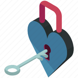 heart, key, lock, love, padlock, security, valentine icon
