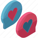 chat, conversation, heart, love, message, text, valentine icon