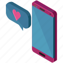 love, message, phone, smartphone, text, valentine icon