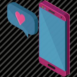 love, message, phone, smartphone, text, valentine icon