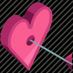 arrow, heart, love, target, valentine icon