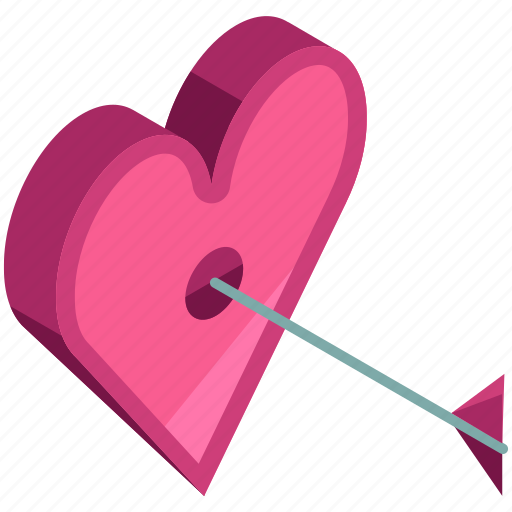arrow, heart, love, target, valentine icon