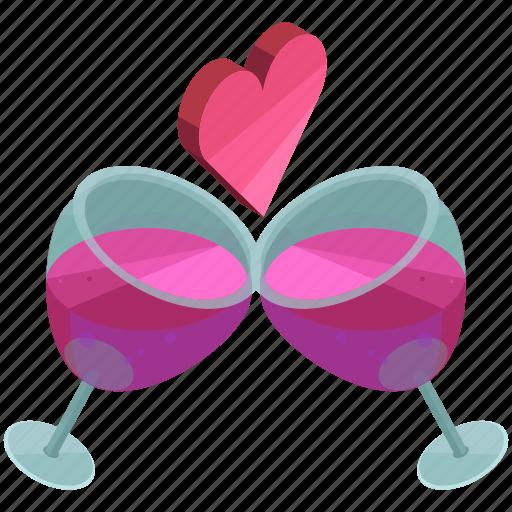 beverage, celebration, drink, heart, love, toast, valentine icon