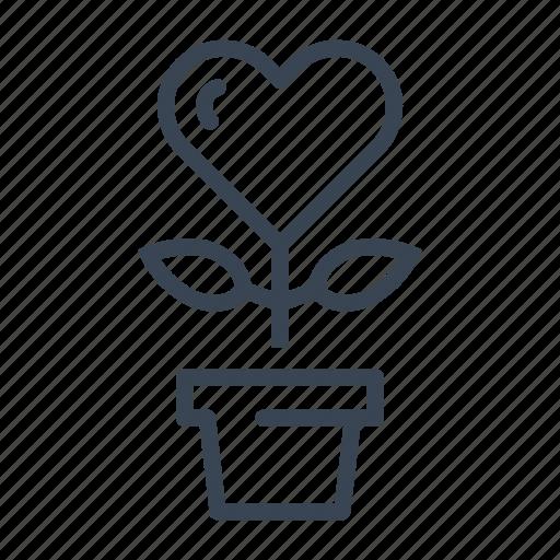 flower, growth, heart, love, plant, valentine icon