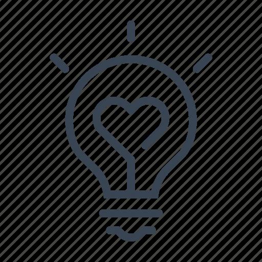 bulb, heart, light, lightbulb, love icon