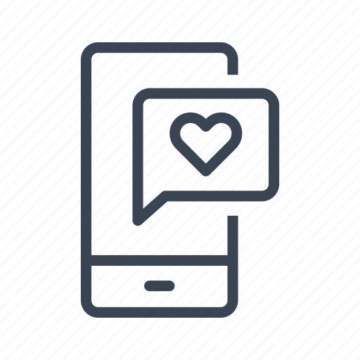 heart, love, message, mobile, phone icon