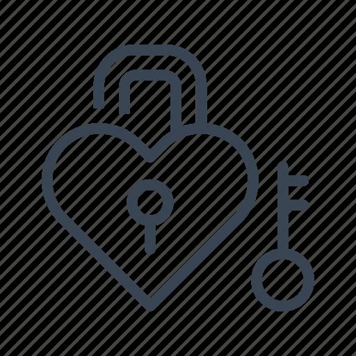 heart, key, lock, love, padlock, valentine's day icon