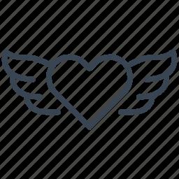 angel, heart, love, valentine, wings icon
