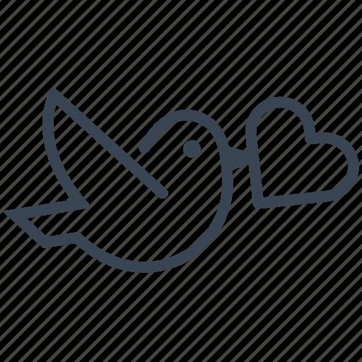 bird, dove, heart, love, wedding icon