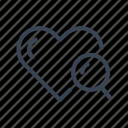 find, heart, love, search, seek icon