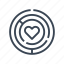 heart, labyrinth, love, maze icon