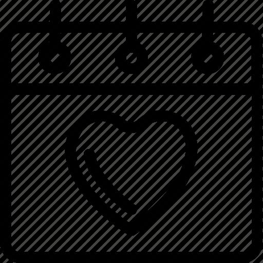 anniversary, calendar, heart calendar, valentine day, wedding icon