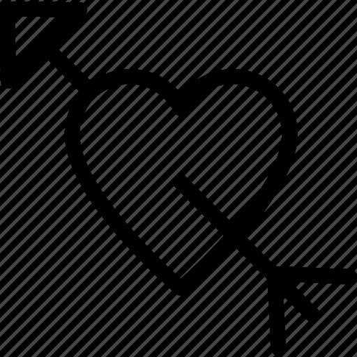 arrow, broken heart, heart, heart with cupid, heartbreak icon