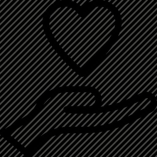 care, hand, heart, heart care, love icon