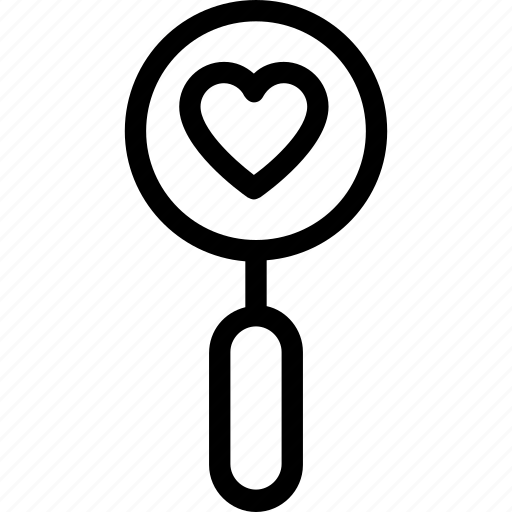 dating, find partner, heart, love, magnifier icon